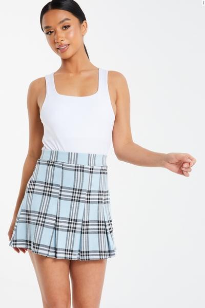 Petite Blue Checked Skirt